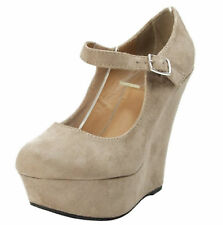 Erika56 Women's Sexy Pump Wedge Heel Sandal Round Toe One Strap Suede Shoes 5-10