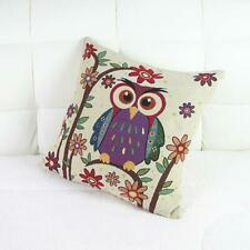 Owl Pattern Cotton Linen Square Decorative Throw Pillow Case Cushion Cover 16""