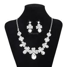 Rhinestone Crystal Beaded Pearl Necklace Earring Jewelry Set For Wedding Bridal