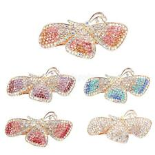 Full Colorful Rhinestone Butterfly Hair Barrette Clips Hairpin Clamp Accessory