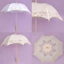 White Beige Kids Adult Cotton Sun Parasol Umbrella Bridal Wedding Party Decor