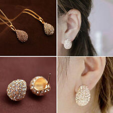 Fashion Elegant Lady Silver Plated Crystal Rhinestone Ear Stud Earring Necklace
