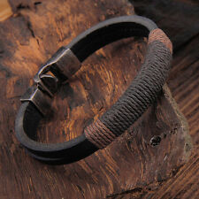 Mens Wristband Bracelet Surfer Vintage Hemp Wrap Leather Cuff Black Brown CHI