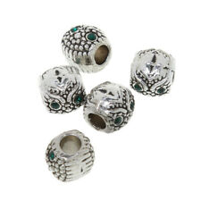 5Pcs silver big hole Crystal spacer beads fit Charm European Bracelet DIY
