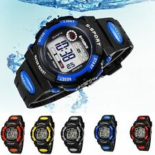 Kids Child's Boy girl Waterproof PU Strap Led Digital Sport Quartz Wrist Watch
