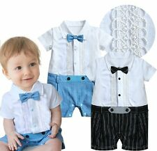 Baby Boy Wedding Christening Tuxedo Formal Party White Suit Outfit Clothes 3-18M