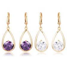 Water Drop With Circle CZ Leverback Hoop Earrings Womens Earings Classic