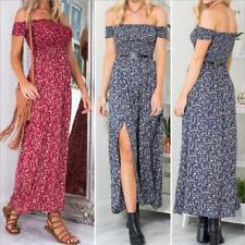 Womens Sexy Strapless Split Maxi Long Summer Sun Dress Beach Evening Party