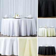 """10 ROUND 108"""" Premium Quality POLYESTER TABLECLOTHS Wedding Catering Kitchen"""