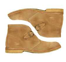 Handmade Monk Suede Beige Leather Buckle Type Boots Beige Shoes Fashion Shoes