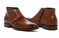 Handmade Monk Strap Brown Leather Buckle Type Boots Shoes Fashion Shoes Men