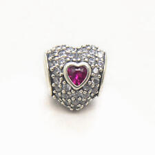 Genuine Authentic S925 Sterling Silver In My Heart Ruby CZ Charm