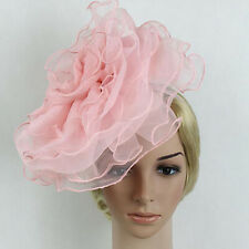 Large Netting Flower Fascinator Headband Clip Church Kentucky Derby Lady Hat