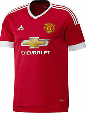 MANCHESTER  UNITED M, L HOME RED 2015/16 S/S ADIDAS FOOTBALL SOCCER SHIRT JERSEY