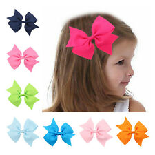 2PCS  Baby Girls Toddler Hair Ribbon Bows Alligator Hair Clips Bow Hairpins