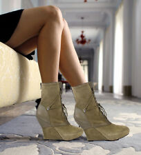 BACIO 61 NATURA  BOOTS SHOES GREEN LEATHER LACE-UP WEDGE MID CALF BOOTIE $225