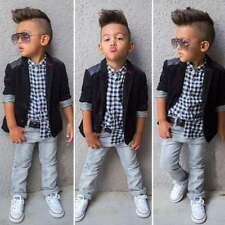 3x Toddler Baby Boy Kids Coat/Jacket+T-shirt Top+Pants/Trousers Outfit Sets