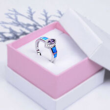 Wedding Promise Ring 925 Sterling Silver Fire Opal&Amethyst CZ Bling Size 6 7 8