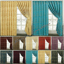 JACQUARD CURTAINS,Fully Lined Ready Made Pencil Pleat Tape Top Curtains+Tie Back