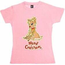 Cute Deer Tangled Up In Christmas Fairy Lights Womens Ladies T-Shirt