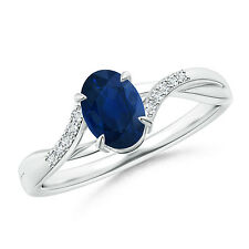 Oval Cut Natural Blue Sapphire Solitaire Engagement Ring Diamond Accent 14k Gold