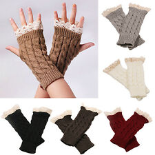 Women Fingerless Lace Gloves Soft Knitted Warm Long Mitten Wrist Warmer Ornate