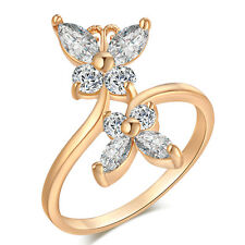 White Crystal Double butterfly exquisite zircon Fine Ring Ring Size 6/7/8/9