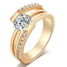 White Crystal Stainless Steel Fashion Fine Ring 18K GP Ring Size 6/7/8/9