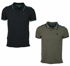 MENS POLO TSHIRT SHORT SLEEVE VOI JEANS IN BLACK IRIS & CHARCOAL MARL DESIGNER
