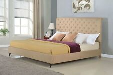 Brown Platform Bed Frame King Queen Full Twin Size Wood Upholstered Headboard