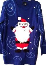 Womens Sweater Blue Fuzzy Stitches on Santa Jewels Long Fit New Directions M