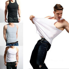 Fashion Men Top Premium Cotton Mens A-Shirt Wife Beater Ribbed Tank Top Muscle