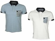 MENS POLO TSHIRT SHORT SLEEVE VOI JEANS IN WHITE & SKY BLUE COLOURS RRP £29.99
