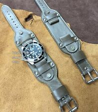 Size 20/22mm Olive Green Oil Tanned Leather Military Wristwatch Strap/Band #090