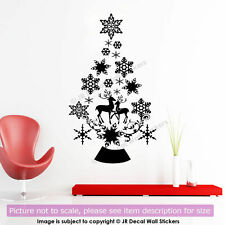 Christmas Tree Vinyl Wall Art Sticker Snowflake Reindeer Xmas Vinyl Wall Decal