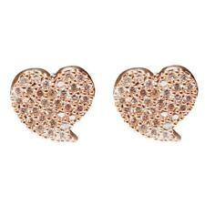 Fashion Ear Jewelry Zircon Crystal Sweet Heart Charm Stud Earrings