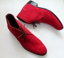 Handmade Classic Elegant Red Suede Chukka Leather Boots Lace Up Shoes