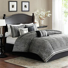 7pc black white grey detailed jacquard style comforter set