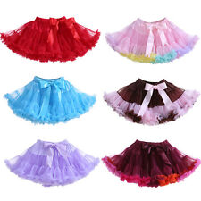 Girls Tutu Tulle Dance Party Skirt Christmas Princess Bow Pettiskirt Muti-color