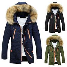 Stylish Mens Anorak Parka Parker Padded Winter Thick Jacket Faux Fur Hooded Coat