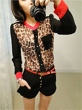 Fashion Women Leopard Chiffon Shirt Long Sleeve Casual Loose Korea Shirt Blouse