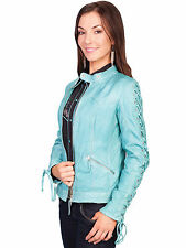 Scully Leather Womens Lace Up Sleeves Lamb Skin Motorcycle Jacket Blue River