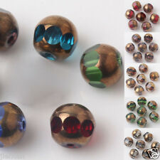 Wholesale 20/40x Bronze Plated Faceted Czech Crystal Charm Loose Spacer Bead 8mm