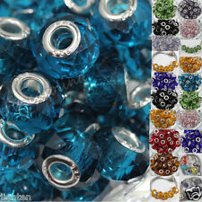 5Pc Multicolor Glass Spacer Murano Big Hole Bead Fit European Bracelet Craft DIY