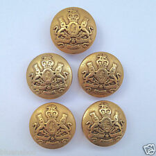 5 x Military style METAL antique gold colour blazer buttons 15mm & 20mm Q61