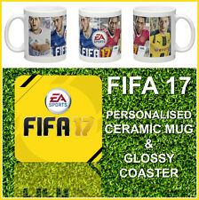 NEW FIFA 17 PERSONALISED 10oz CERAMIC MUG & GLOSSY HARDWOOD COASTER GIFT