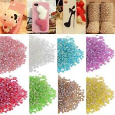 1000pcs Half Round Flatback Loose Beads Pearls DIY Nail Art Phone Sewing Craft