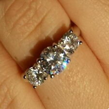 Present Future 3 Stone Past CZ Engagement Wedding Bridal Sterling Silver925 Ring