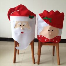 Mr&Mrs Santa Claus Christmas Dining Room Chair Seat Back Cover Party Decor
