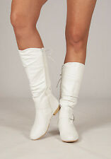 New Womens Lace Back Flat Zip Up Mid Calf Boots